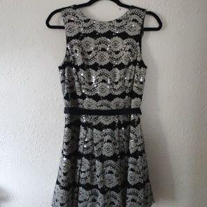 Black & Silver Lace Dress
